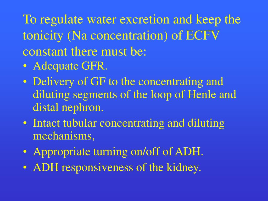 To regulate water excretion and keep the tonicity (Na concentration) of ECFV constant there must be: