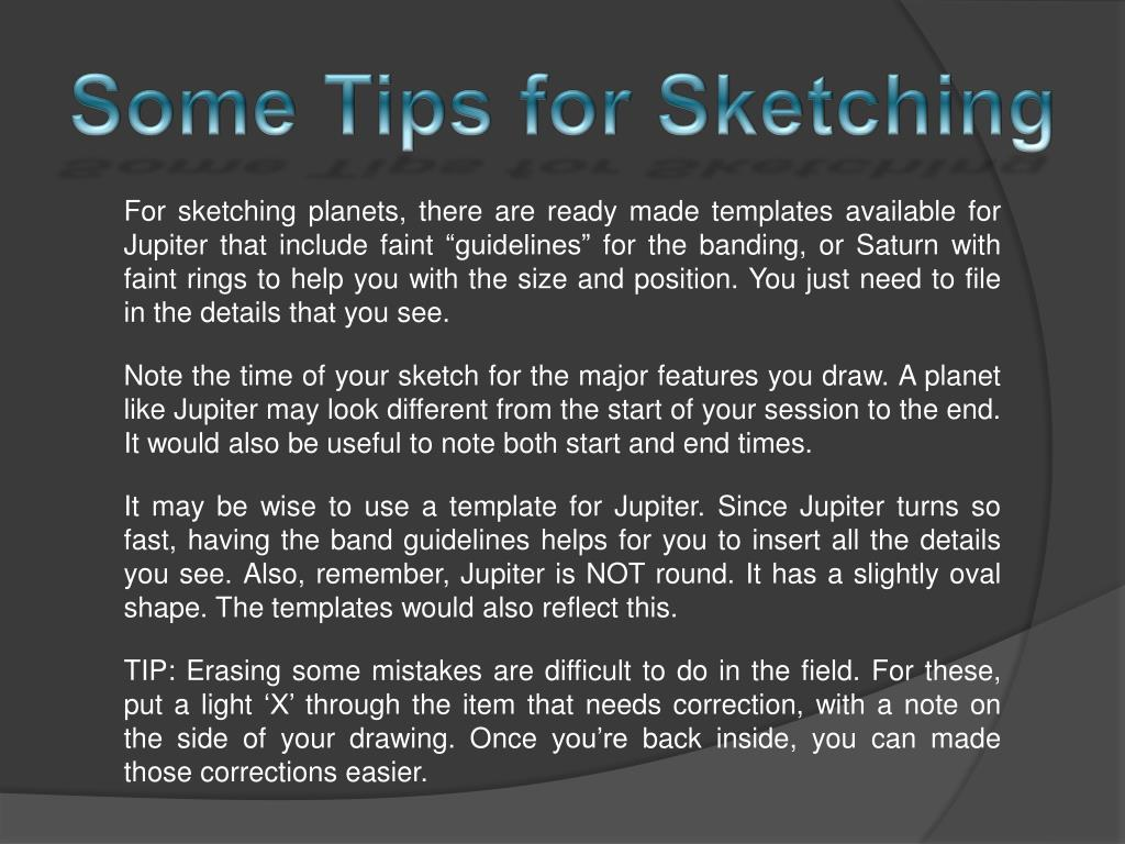 Some Tips for Sketching
