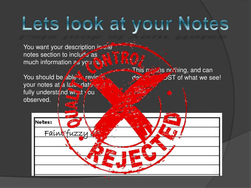 Lets look at your Notes