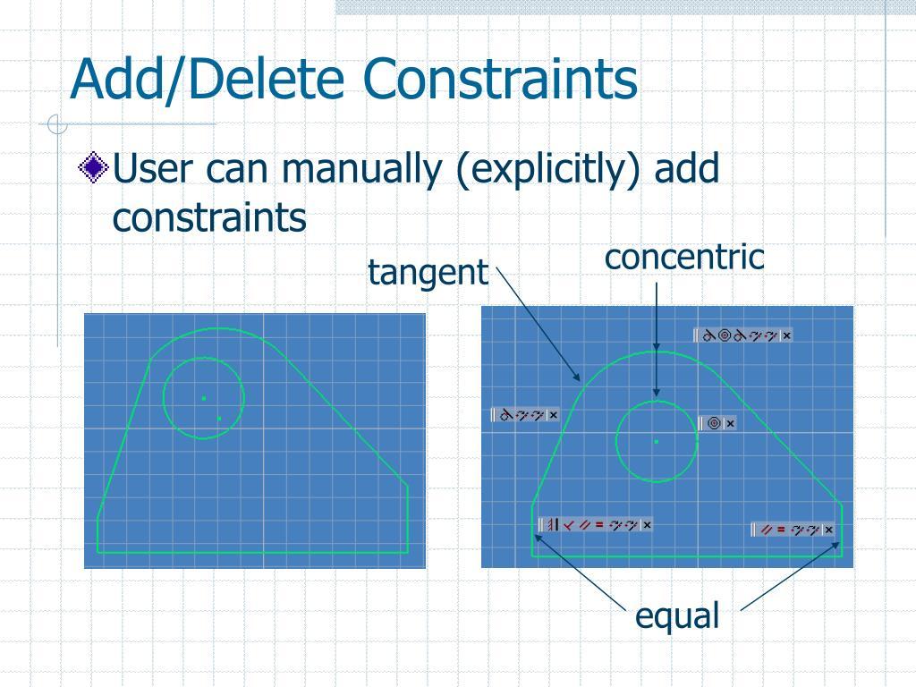 Add/Delete Constraints