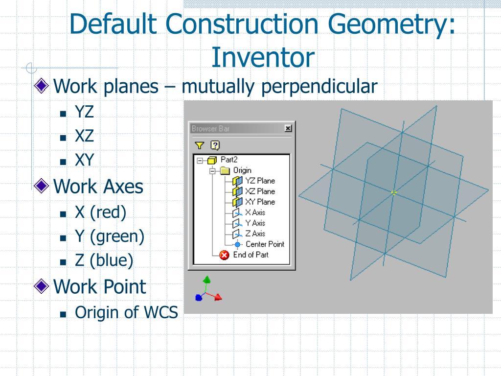 Default Construction Geometry: Inventor