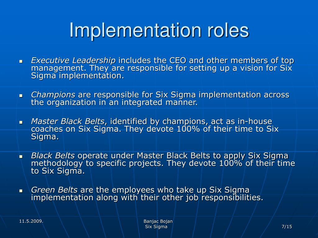 Implementation roles
