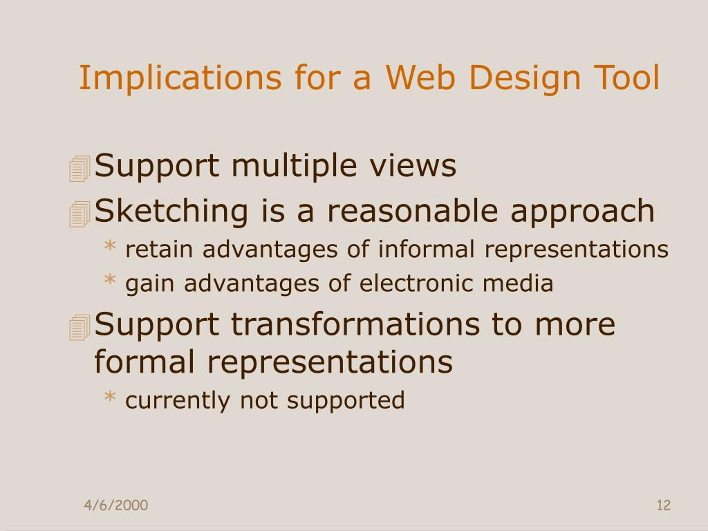 Implications for a Web Design Tool