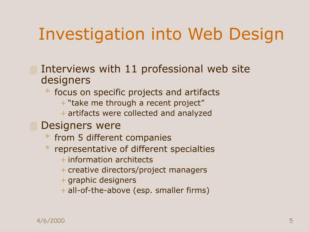 Investigation into Web Design