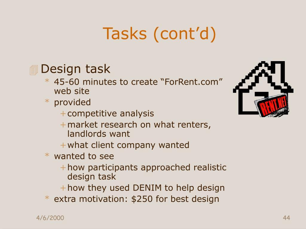 Tasks (cont'd)