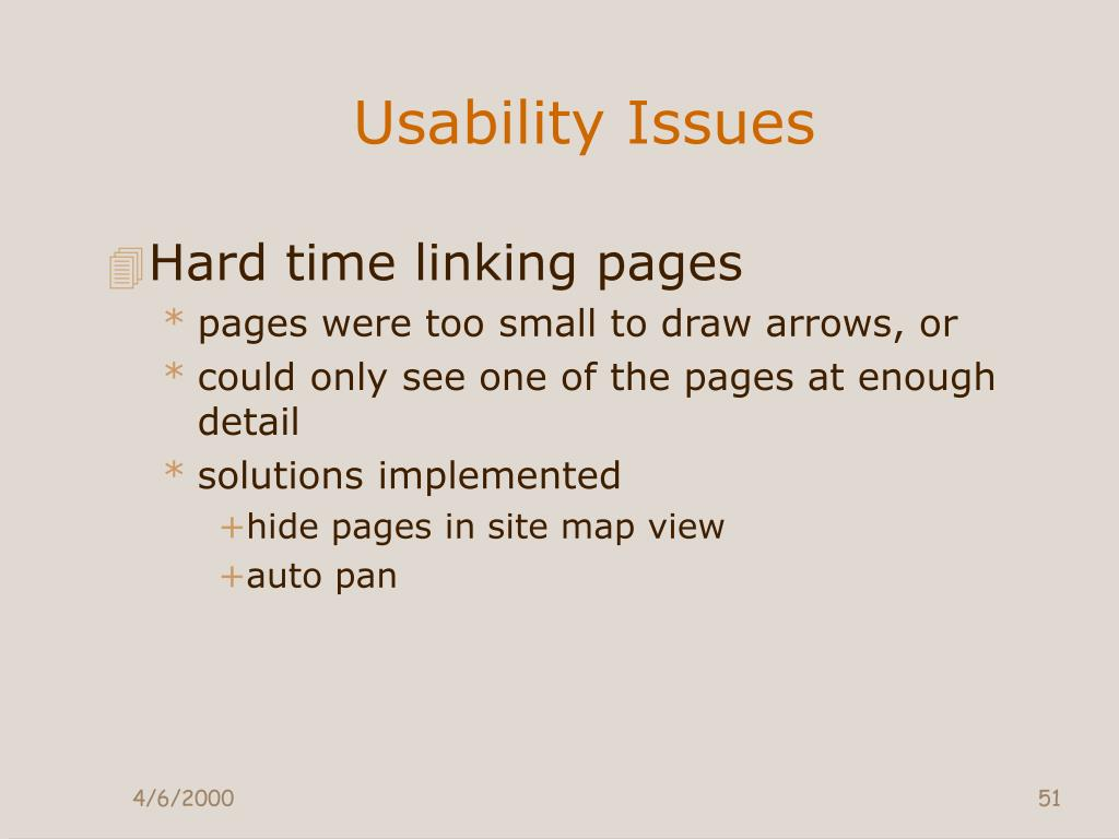 Usability Issues