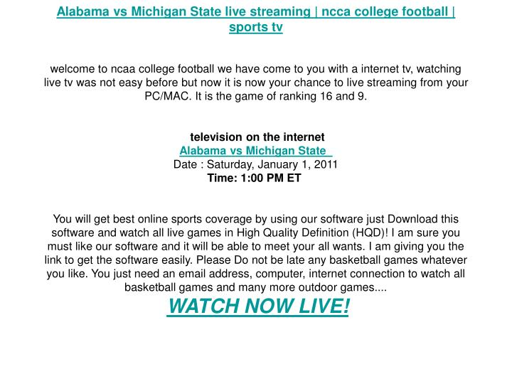 Alabama vs Michigan State live streaming | ncca college football | sports tv