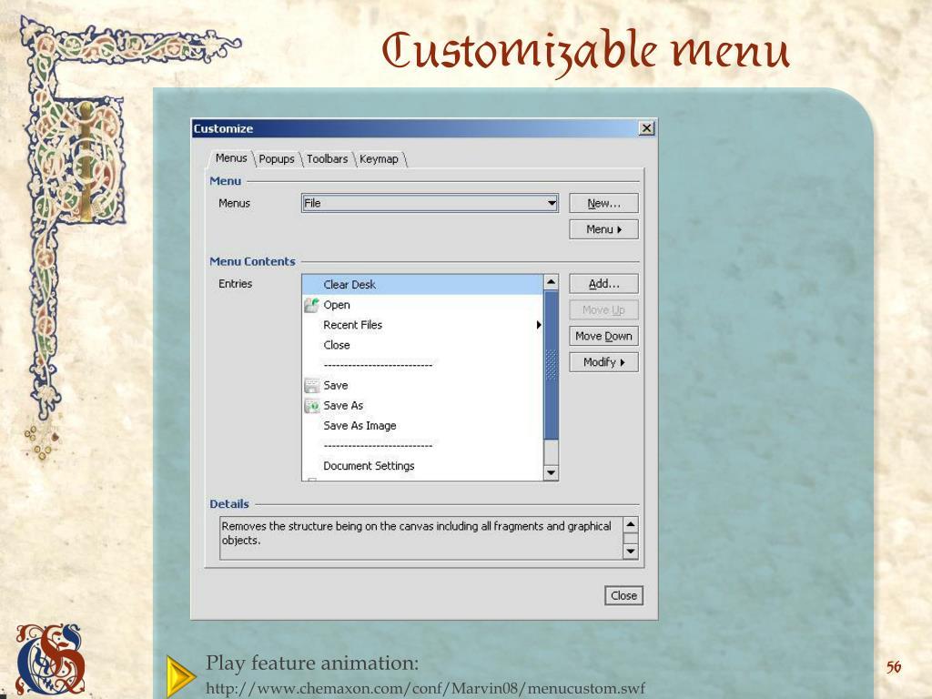 Customizable menu