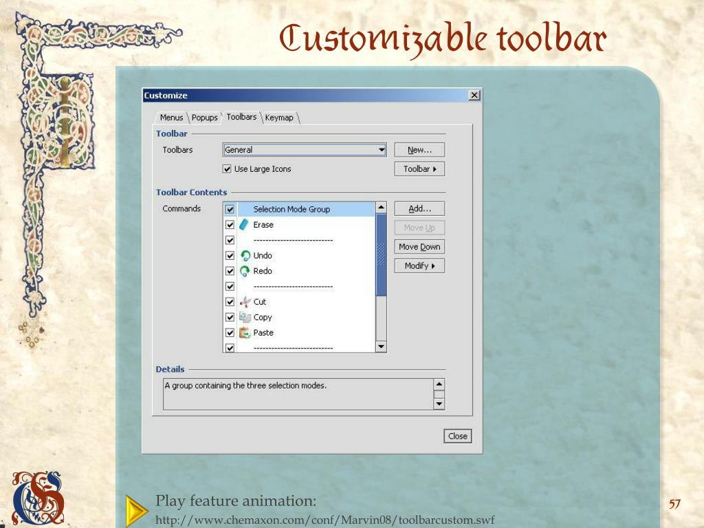 Customizable toolbar
