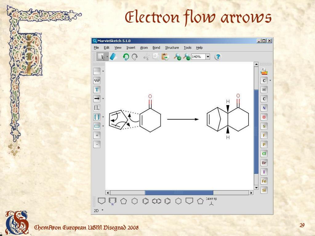 Electron flow arrows