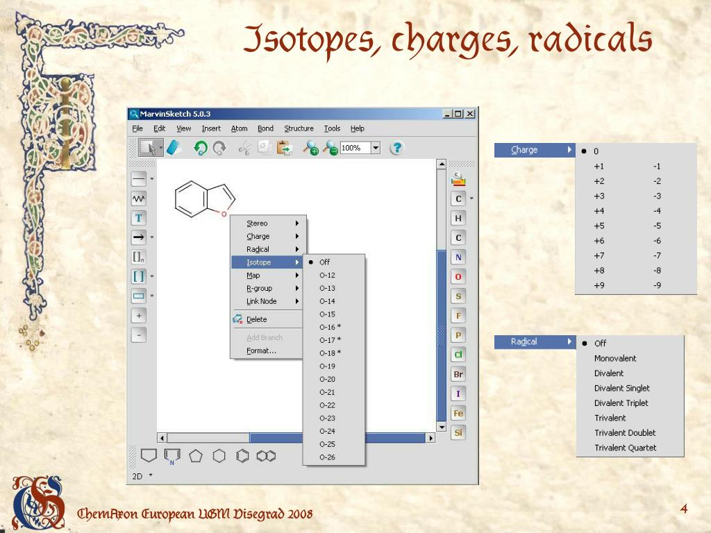 Isotopes, charges, radicals