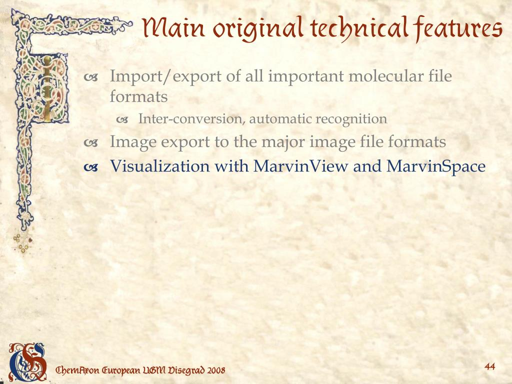 Main original technical features