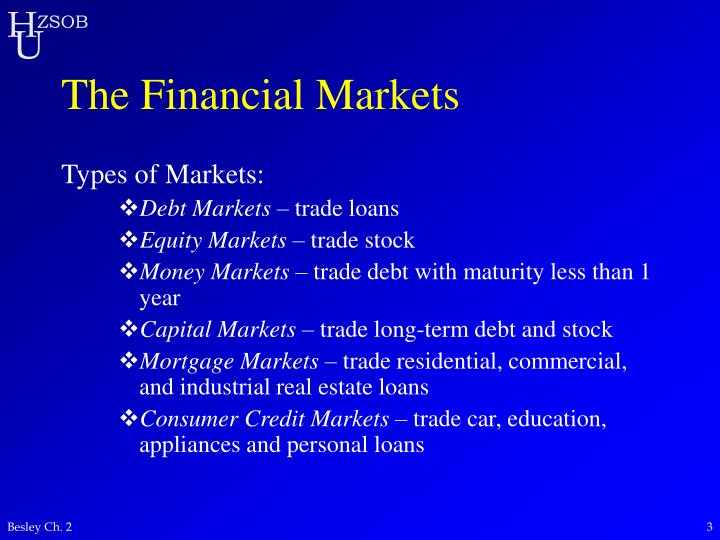 The financial markets3