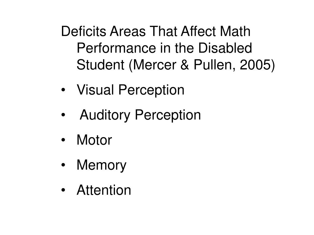Deficits Areas That Affect Math Performance in the Disabled Student (Mercer & Pullen, 2005)
