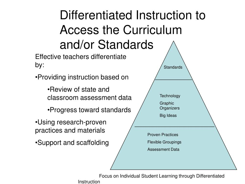 Differentiated Instruction to Access the Curriculum and/or Standards