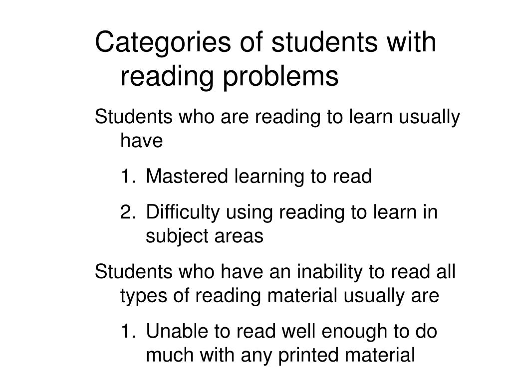 Categories of students with reading problems