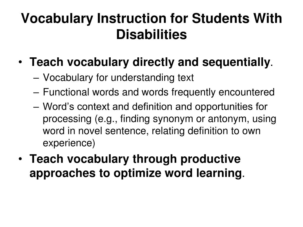 Vocabulary Instruction for Students With Disabilities