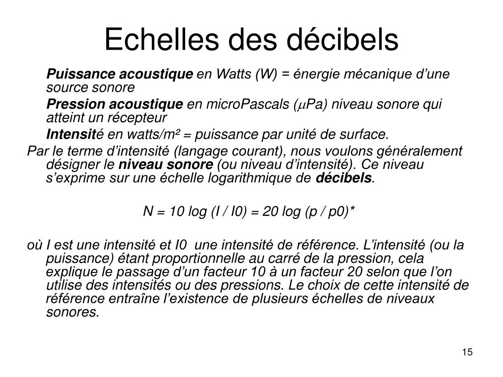 Echelles des décibels