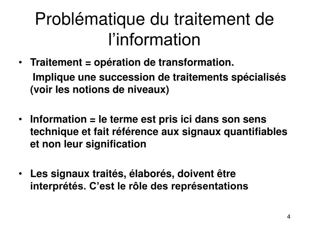 Problématique du traitement de l'information