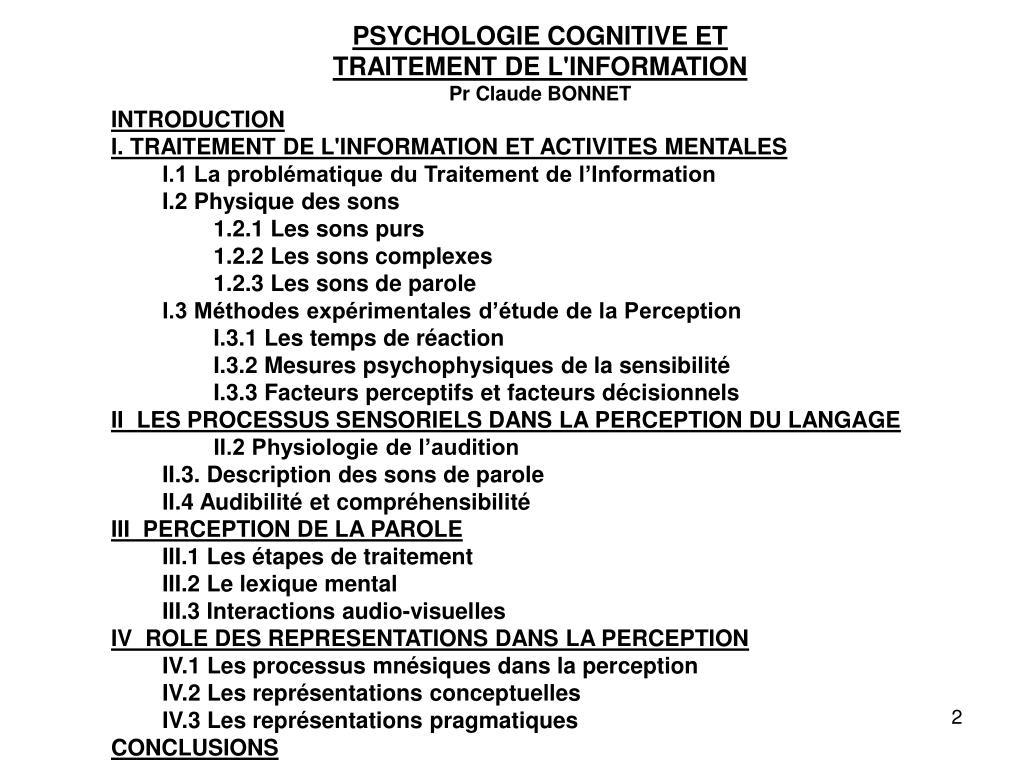 PSYCHOLOGIE COGNITIVE ET
