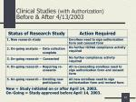 clinical studies with authorization before after 4 13 2003