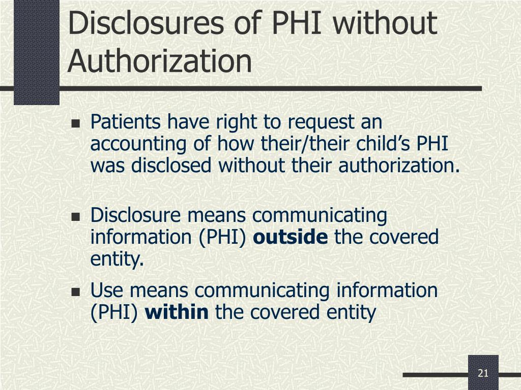 Disclosures of PHI without Authorization