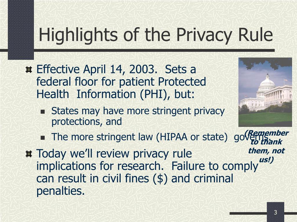 Highlights of the Privacy Rule