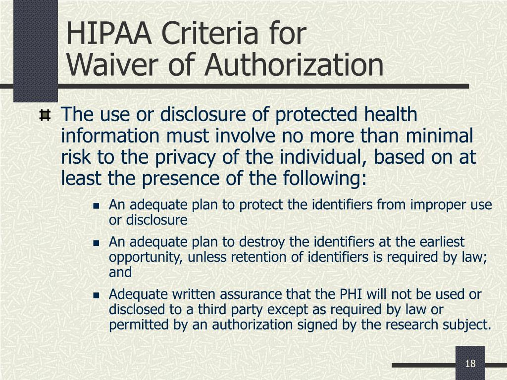 HIPAA Criteria for