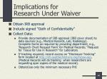 implications for research under waiver