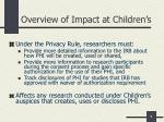 overview of impact at children s