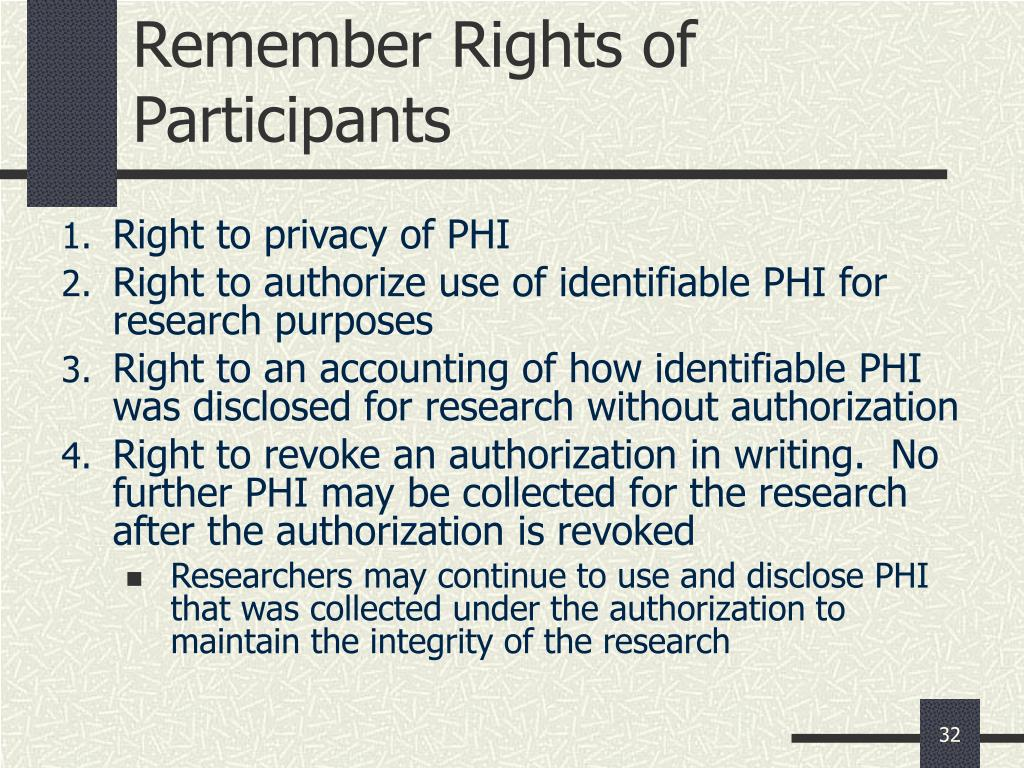 Remember Rights of Participants