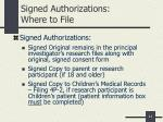 signed authorizations where to file