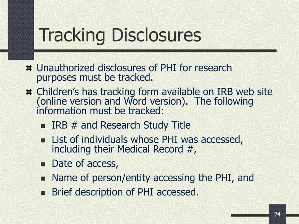 Tracking Disclosures