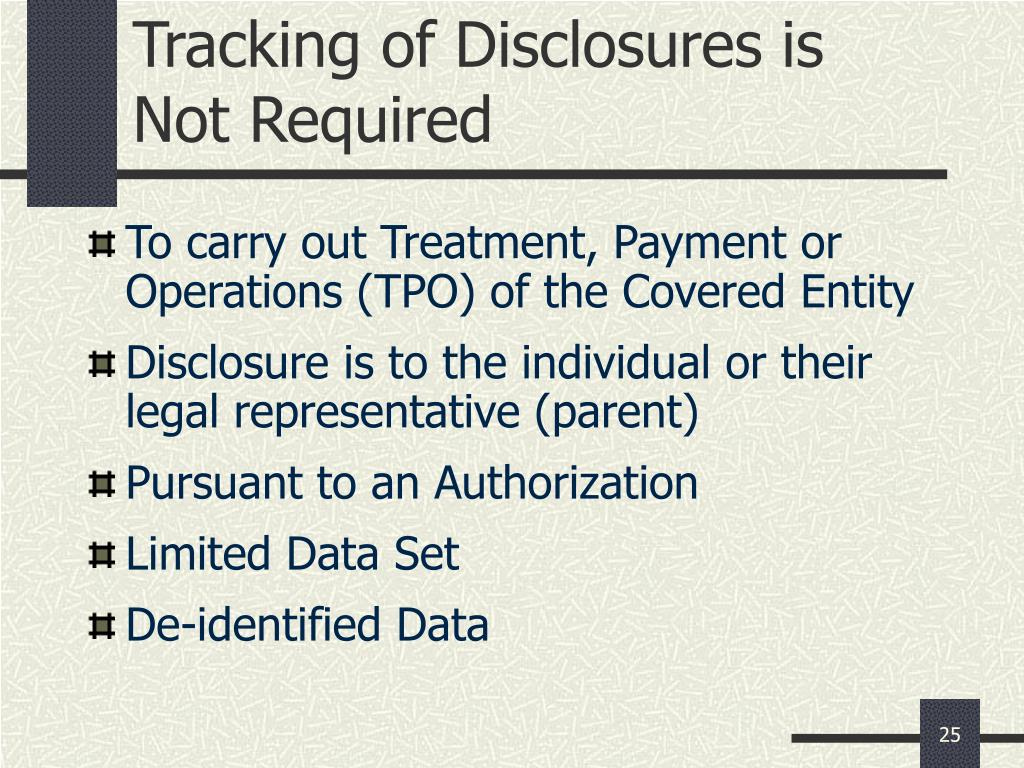 Tracking of Disclosures is