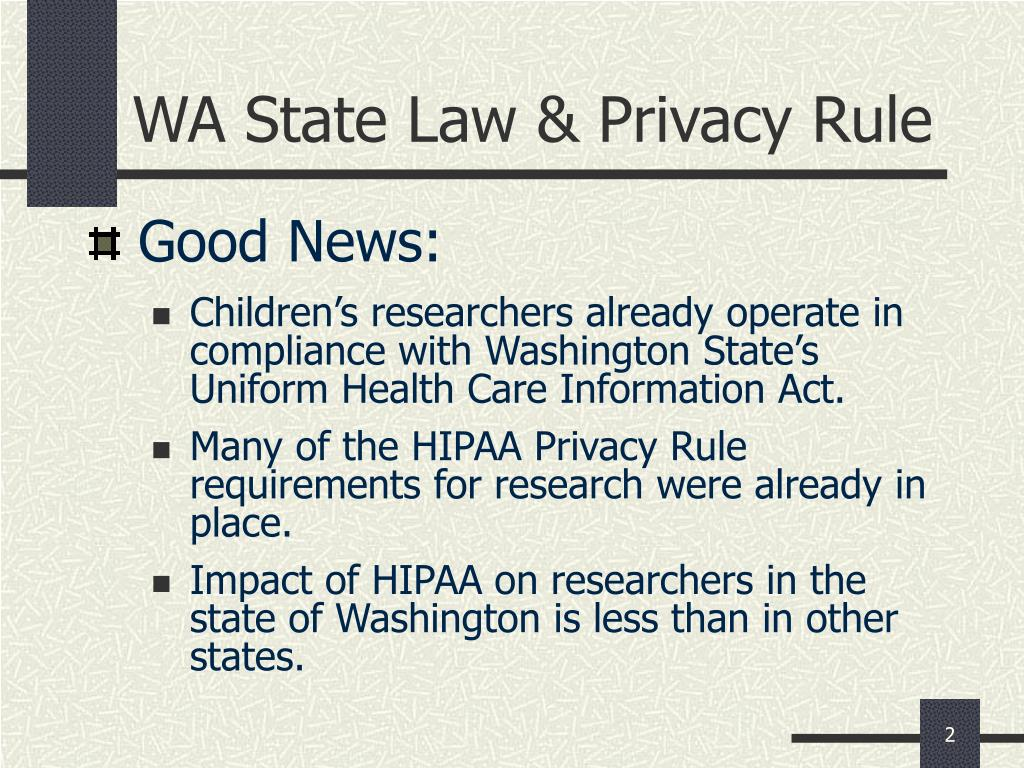 WA State Law & Privacy Rule