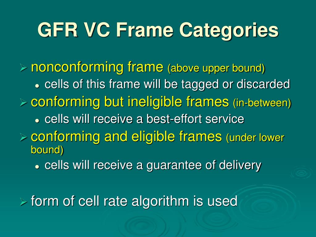 GFR VC Frame Categories
