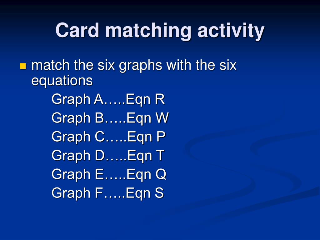 Card matching activity