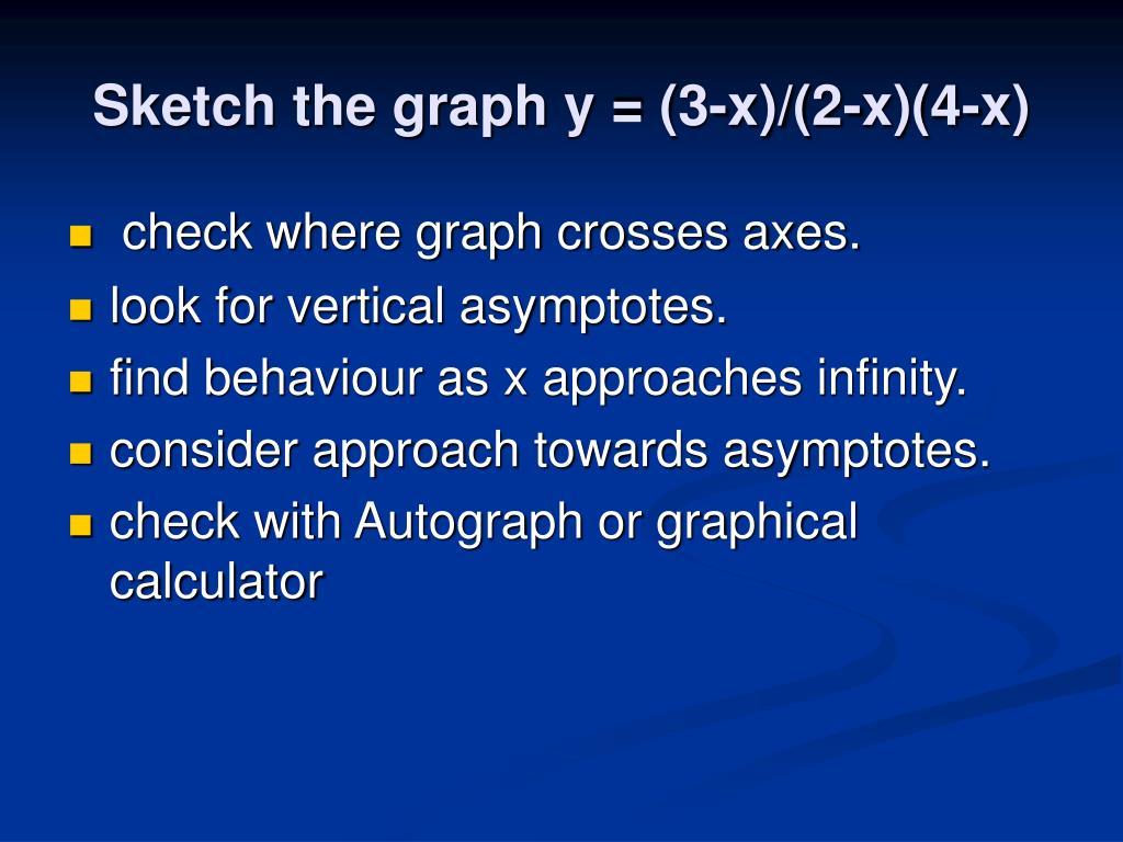 Sketch the graph y = (3-x)/(2-x)(4-x)