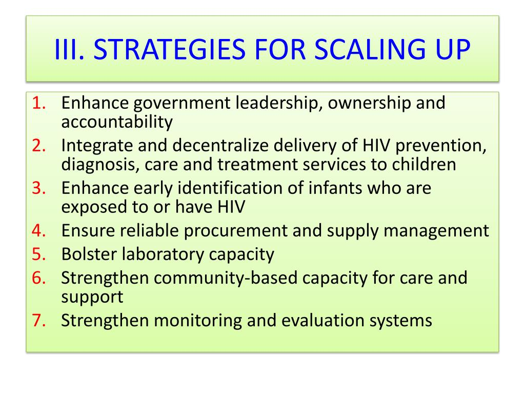 III. STRATEGIES FOR SCALING UP