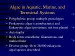 algae in aquatic marine and terrestrial systems2