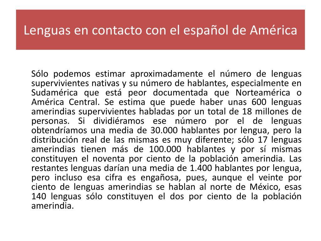 Lenguas en contacto con el español de América