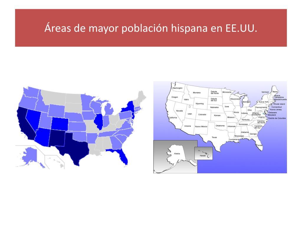 Áreas de mayor población hispana en EE.UU.