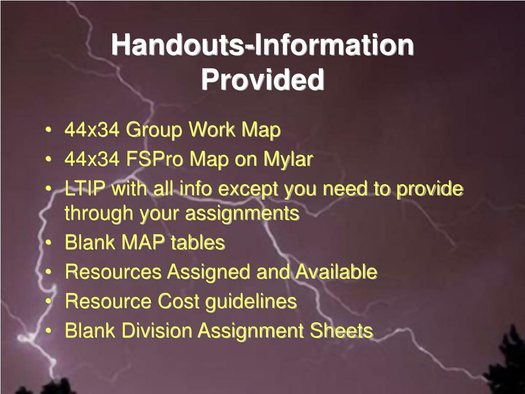 Handouts-Information Provided