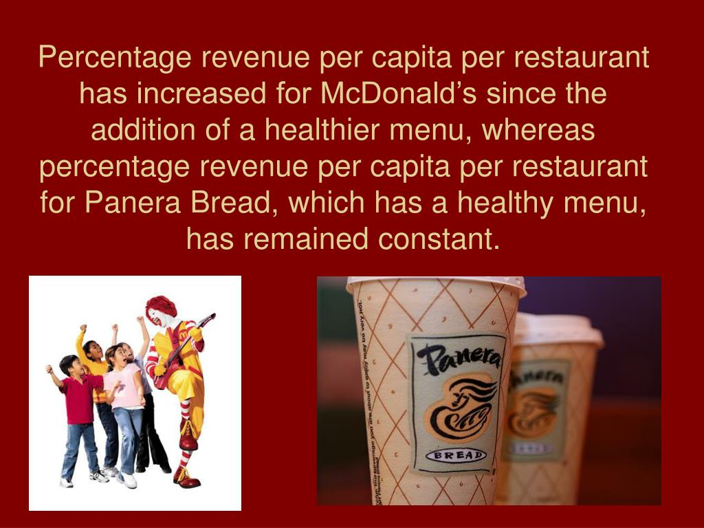 Percentage revenue per capita per restaurant has increased for McDonald's since the addition of a healthier menu, whereas percentage revenue per capita per restaurant for Panera Bread, which has a healthy menu, has remained constant.