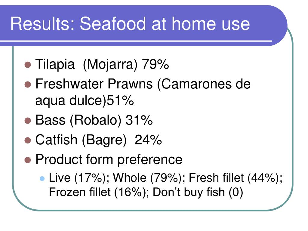 Results: Seafood at home use