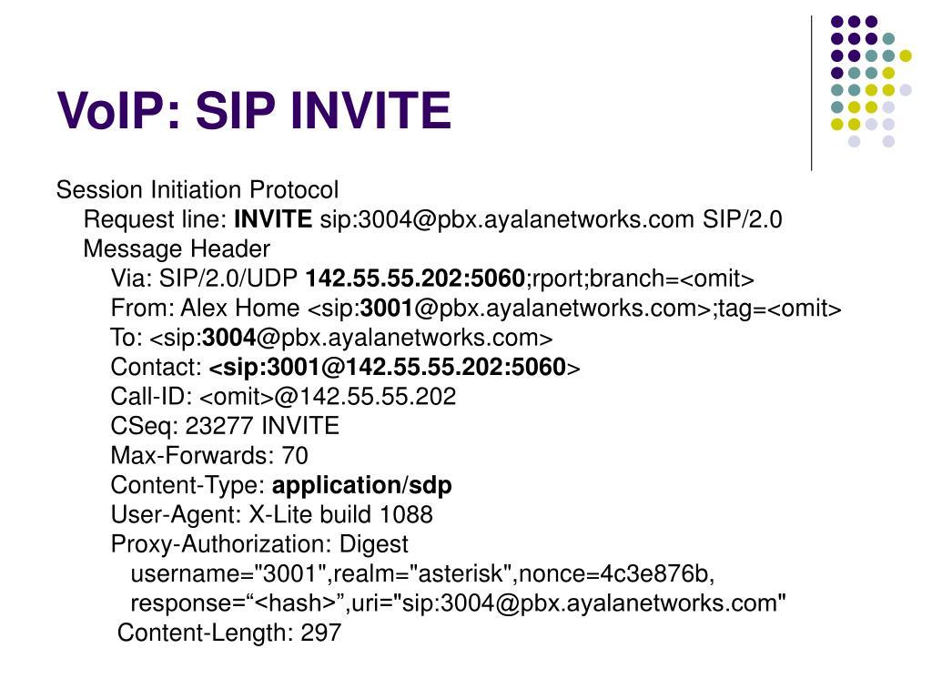 VoIP: SIP INVITE