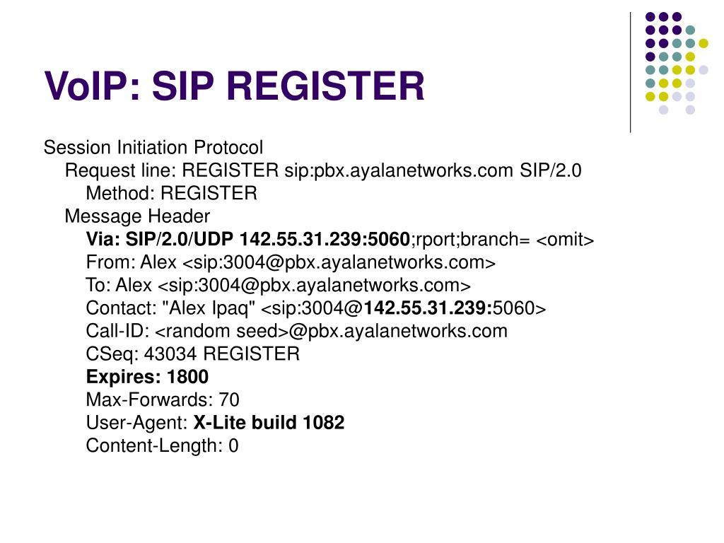 VoIP: SIP REGISTER