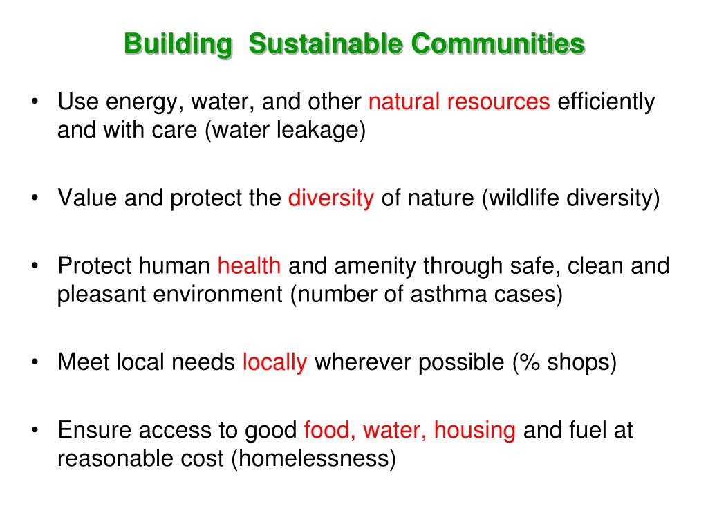 Building  Sustainable Communities