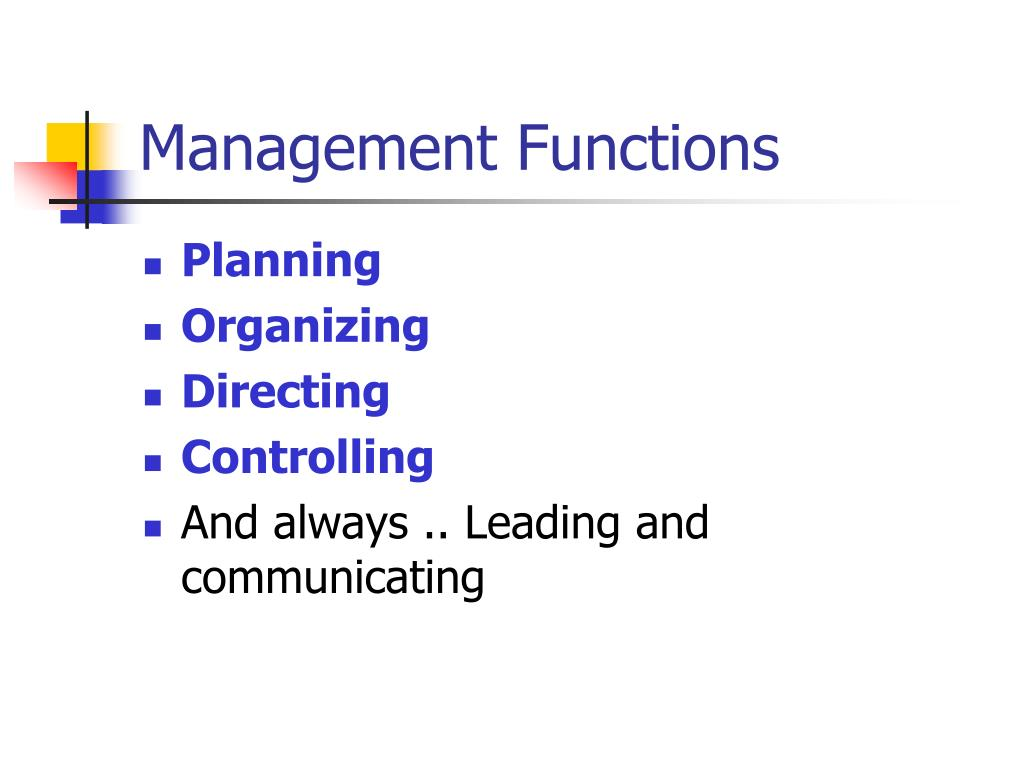 an overview of the four functions of management The four levels, starting from the bottom, are functional level managers, business  unit  table 1 provides a summary of the main authors presented above.