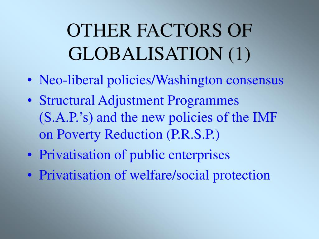 OTHER FACTORS OF GLOBALISATION (1)